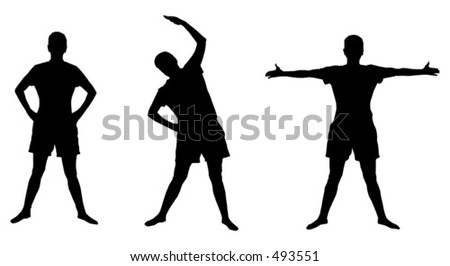 Silhouettes of active poses - stock vector