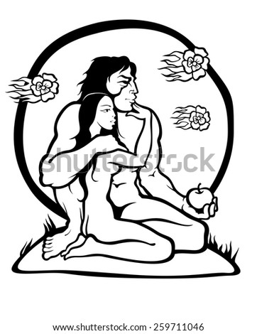 Silhouettes of Adam and Eve with the forbidden fruit in hand. Vector illustration. - stock vector