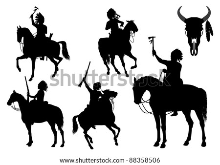 Silhouettes of American Indians on horseback - stock vector