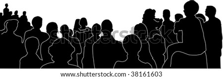 silhouettes of an audience with white outlines, vector-illustration - stock vector