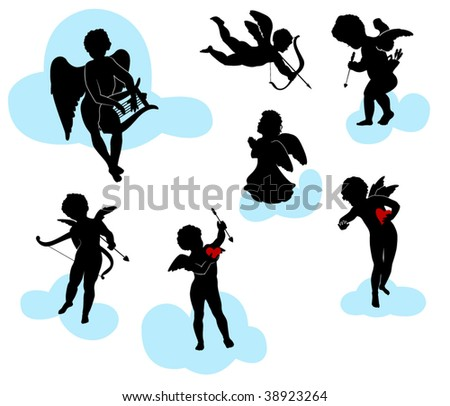 Silhouettes of angels, cherubs and cupids - stock vector