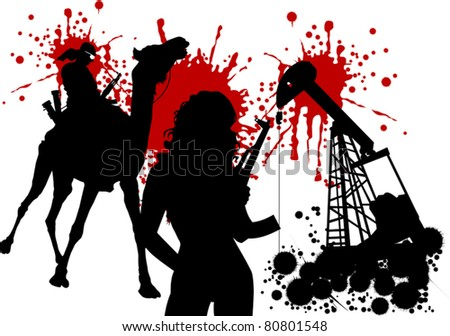 silhouettes of armed men against the background of petroleum rigs;