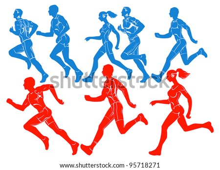 Silhouettes of athletes to compete in the run. - stock vector