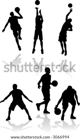 silhouettes of basketball players (vector)