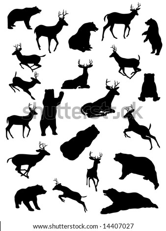 Silhouettes of Bear and Deer