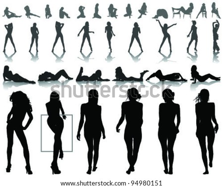 Silhouettes of beautiful  and sexy girls in various poses, vector - stock vector