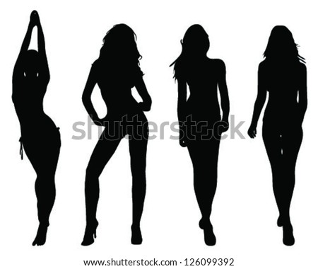 Silhouettes of beautiful girls 2- vector - stock vector