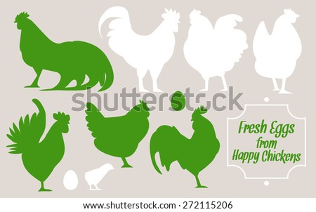 Silhouettes of birds. Hens and chickens, fresh eggs. Variety silhouettes chicken. chickens and roosters, silhouettes vector, collage set. Flat illustration. - stock vector