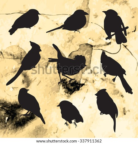 Silhouettes of birds on grunge background. Vector illustration for invitations, templates, postcards. Golden vintage background - stock vector