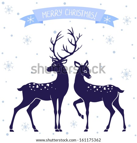 silhouettes of black and white illustration of two deer Christmas - stock vector