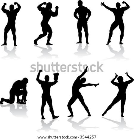 Silhouettes of bodybuilders (vector) - stock vector