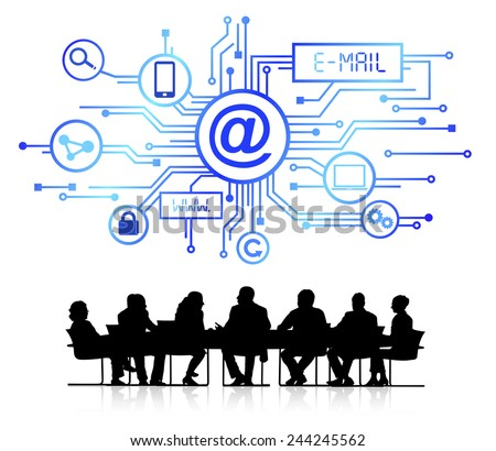 Silhouettes of Business in Conference and Email Concept - stock vector