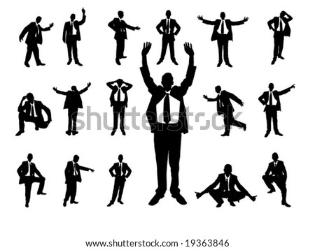 Silhouettes of business man - vector illustration - stock vector