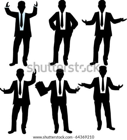Silhouettes of Business men - stock vector