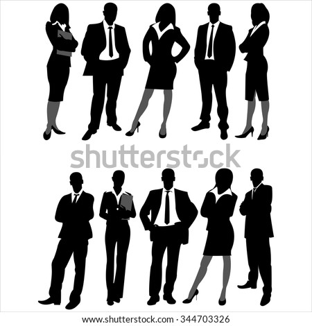 silhouettes of business men and women on white background vector - stock vector