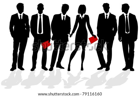 silhouettes of business people - stock vector