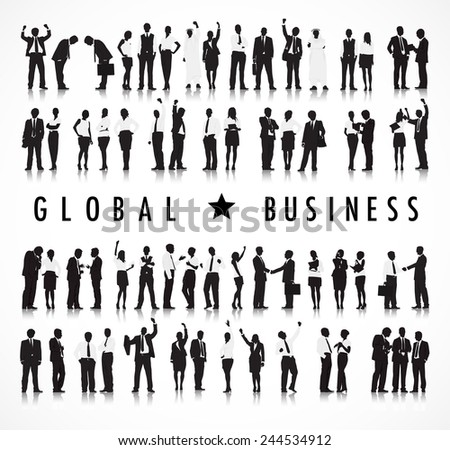 Silhouettes of Business People and Global Business Concept - stock vector