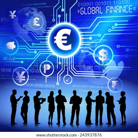 Silhouettes of Business People and Global Finace Concept - stock vector