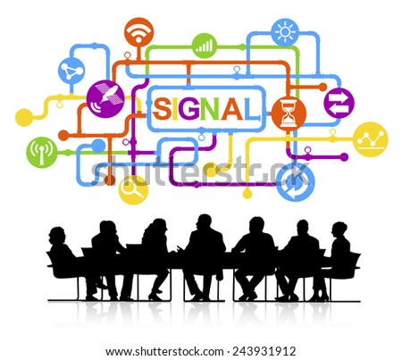 Silhouettes of Business People and Signal Concept - stock vector