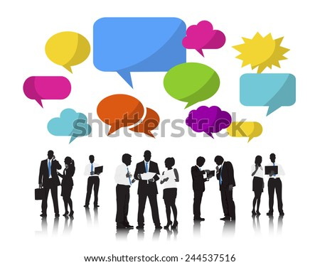 Silhouettes of Business People and Speech Bubbles