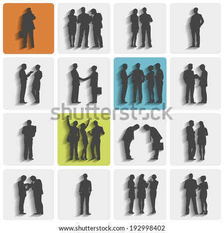Silhouettes of business people standing and working. - stock vector
