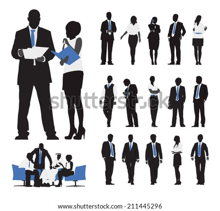 Silhouettes of Business People Working - stock vector