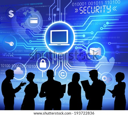 Silhouettes of Business People Working and Security Concept - stock vector