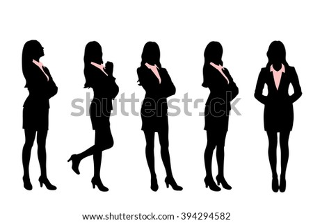 Silhouettes of Business women standing with different pose - stock vector