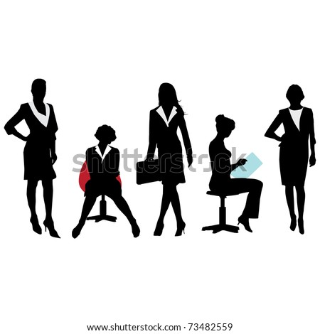 Silhouettes of Business Women.Vector - stock vector