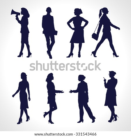 Silhouettes of Business Women. Vector set of illustrations - stock vector