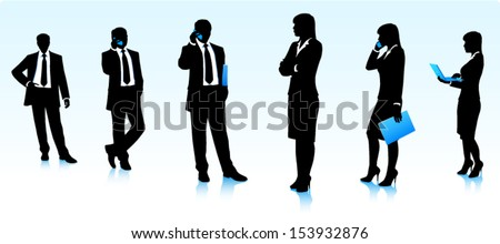 Silhouettes of businessmen and business women - stock vector