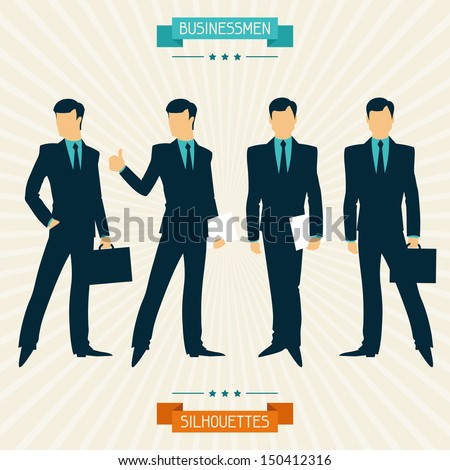 Silhouettes of businessmen in retro style. - stock vector