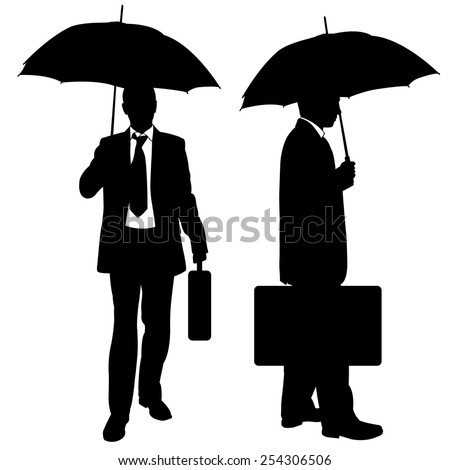 silhouettes of businessmen with umbrellas and suitcases - stock vector