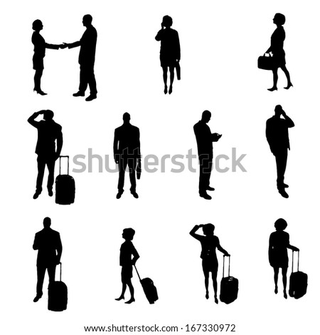 Silhouettes of businesspeople - stock vector