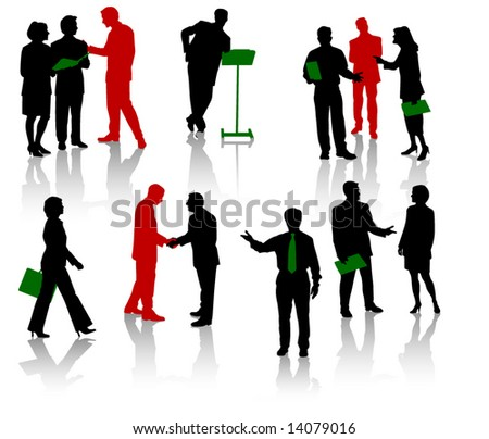 Silhouettes of businesspeople. Men and women. - stock vector