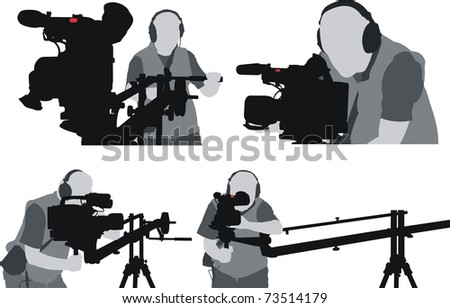 silhouettes of cameramen - stock vector