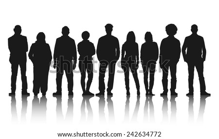 Silhouettes of Casual People in a Row - stock vector