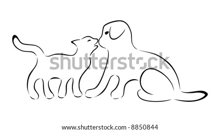 Silhouettes of cat and dog kissing.