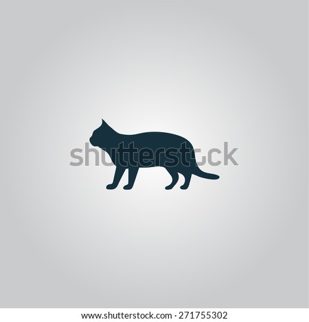 Silhouettes of cat. Flat web icon or sign isolated on grey background. Collection modern trend concept design style vector illustration symbol - stock vector