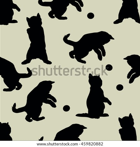 silhouettes of cats background seamless vintage