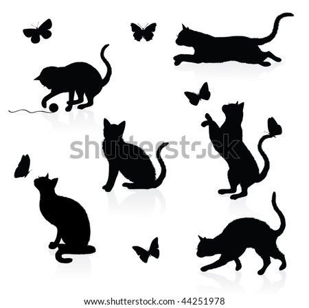Silhouettes of cats with butterflies. - stock vector