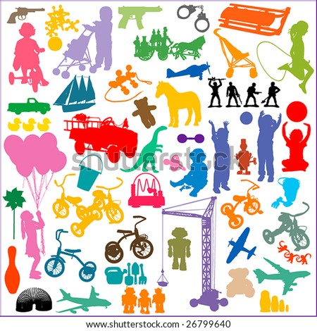 silhouettes of children and toys.  NO auto-trace: HIGH QUALITY vector paths. For more silhouettes, see also my Shutterstock files #13963618, #13360948, #13360951, #14051254, #19737103,