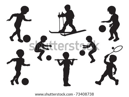 Silhouettes of children engaged in sports exercises - stock vector