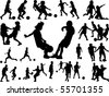 silhouettes of children in action, playing football - stock photo