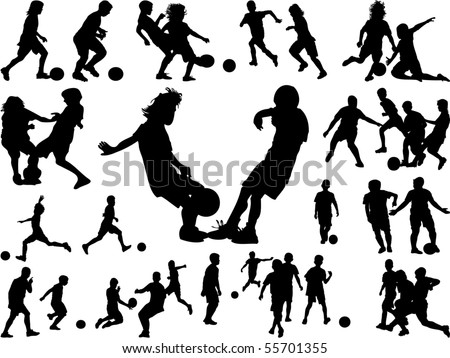 silhouettes of children in action, playing football