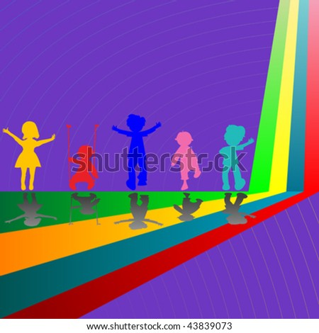 silhouettes of children playing on purple background, abstract art illustration - stock vector