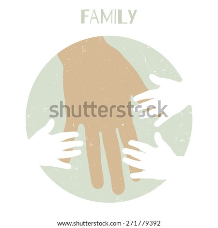 Silhouettes of children's hands and mother's hand - stock vector