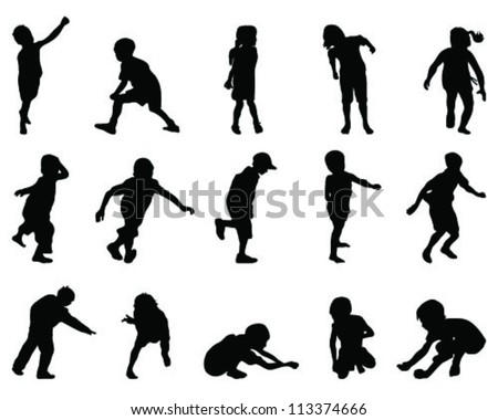 Silhouettes of children-vector