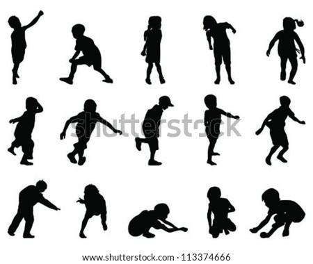 Silhouettes of children-vector - stock vector