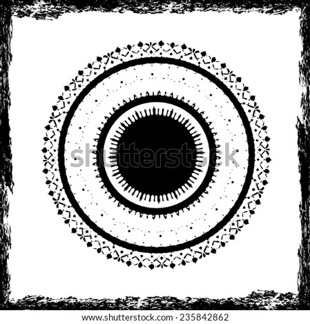Silhouettes of Circular Spiral isolated on White Background. Decorative Elements for Your Design.Abstract Mandala.  - stock vector